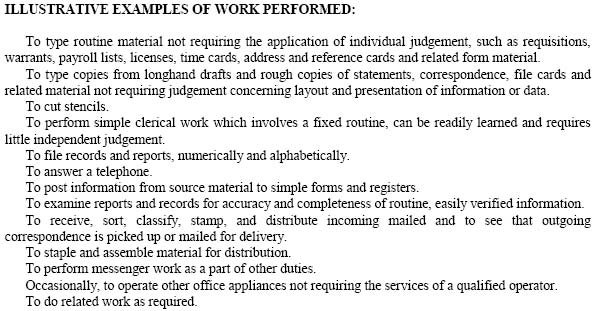 Sample Job Specification Illustrative Examples Of Work Performed   Clerk  Typist  Job Qualifications List